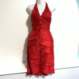Cache Red Tiered Dress Halter Neck See Thru Mesh